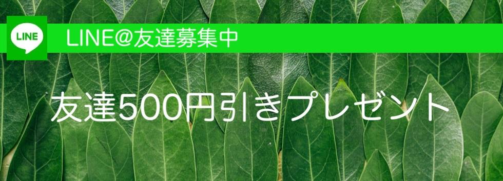 line友達追加で500円オフ