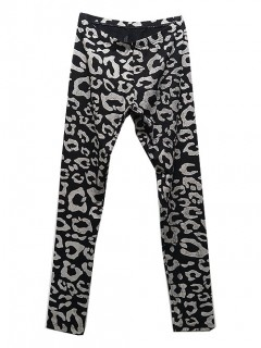 KMRii(ケムリ)-PA-Rayon/Spandex Leopard Leggings/BLACK