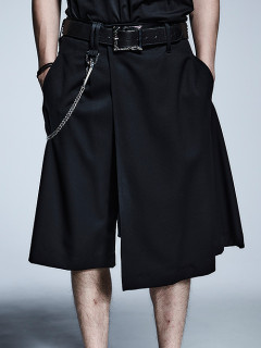 kiryuyrik・キリュウキリュウ/Gabadine Stretch Skirt Short Slacks/BLACK